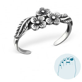 Silver Toe Ring Flowers Oxidized