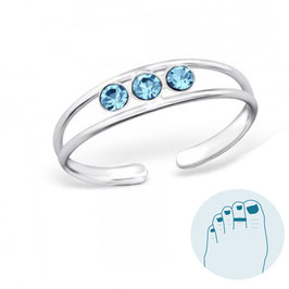 Silver Toe Ring Emillia Blue