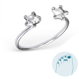 Silver Toe Ring Double Stars