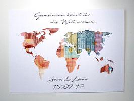 Geldgeschenk zur Hochzeit Weltkarte Farbwahl Wunschgröße - Gemeinsam könnt ihr die Welt erobern