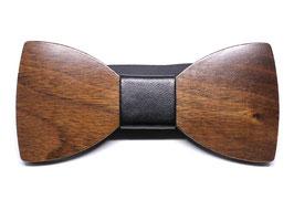 Holzfliege Mittelbraun größenverstellbar Kunstleder Geschenk Trauzuge Bräutigam