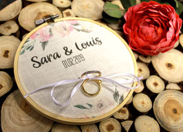 Ringkissen Stickrahmen Hochzeit 13,5cm Ringträger Kästchen Vintage Rosa Blumen