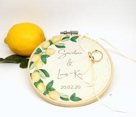 Ringkissen Stickrahmen zur Hochzeit Zitrone 13,5cm Ringträger Kästchen