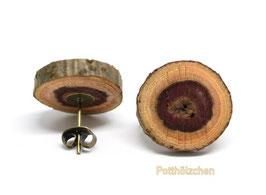 Holzohrstecker Cabochon Braun - 12mm Naturholz