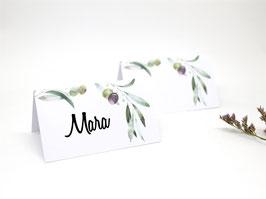 0,28 Euro / Stück Namensschild Platzkarten Tischplan Hochzeit Taufe Olive Olivenzweig 25 Stück