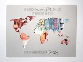 Geldgeschenk zum Geburtstag Weltkarte Farbwahl Wunschgröße - Sehenswürdigkeit...