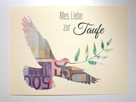 Geldgeschenk zur Taufe Farbwahl Taube Geld hinterlegen Geschenk für Bilderrahmen