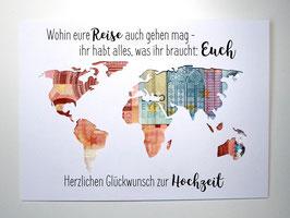Geldgeschenk zur Hochzeit Weltkarte Farbwahl Wunschgröße - Wohin eure Reise auch gehen mag...