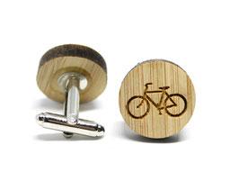 Cufflinks aus Bambusholz - Bicycle 19mm Holz Manschettenknöpfe für den Trauzeugen Fahrrad