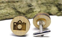 Manschettenknöpfe aus Holz - Kamera Photo 19mm