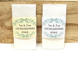10 Freudentränen Banderolen Hochzeit individuell für die Freudentränen Taschentücher 0,5 EURO / STÜCK