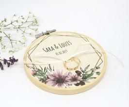 Ringkissen Stickrahmen Wildblumen Lila 10cm