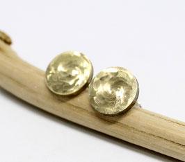 Messingohrstecker Circle geschliffen runde Edelstahlohrstecker handgemacht 10mm