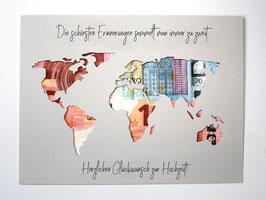 Geldgeschenk zur Hochzeit Weltkarte Farbwahl Wunschgröße - Die schönsten Erinnerungen...