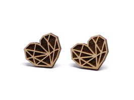 Holzohrstecker Herz geometrisch 15mm Minimal Geometrische Ohrringe