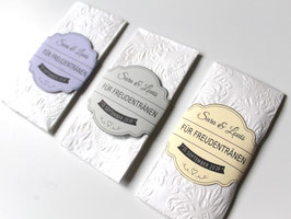 10 Stück Hochzeit Taschentücherbanderolen Vintage Farbwunsch Papierbanderole mit Namen 0,5 EURO/STÜCK