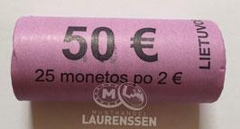 Muntrol 2018 2 euro Litouwen 'Onafhankelijkheid Baltische Staten' 25x 2 euro in rol