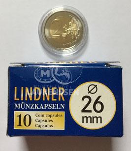 Lindner capsules voor 2 euromunten (26 mm)