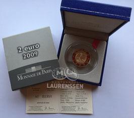 2 euro Frankrijk 2009 Proof '10 jaar EMU' in cassette