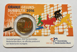 10 cent Nederland 2016 'Oranje Geluksdubbeltje' in coincard met kleur