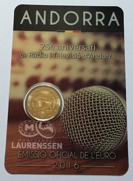 2 euro Andorra 2016 BU '25 jaar Radio & TV' in coincard