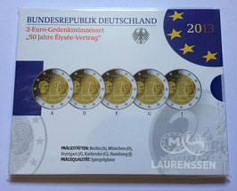 5x 2 euro Duitsland 2013 Proof in blister letters A-D-F-G-J 'Elysee Verdrag'