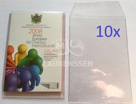 10x hoesje voor het opbergen 2 euro blister San Marino of Italië