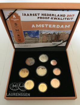 Proof set Nederland 2017 (1 cent - 2 euro + gekleurde 2 euro) in cassette