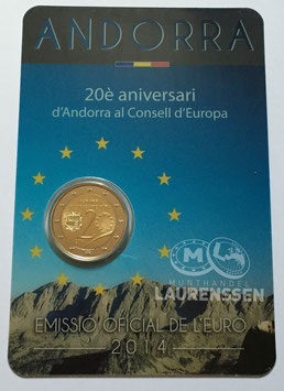 2 euro Andorra 2014 BU '20 jaar lid Raad van Europa' in coincard