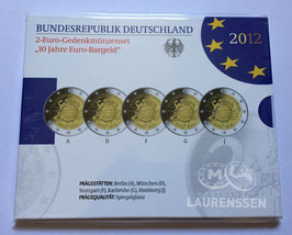 5x 2 euro Duitsland 2012 Proof in blister letters A-D-F-G-J '10 jaar Euro'