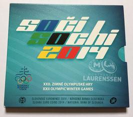BU set Slowakije 2014 (1 cent - 2 euro + 'Sochi' medaille met kleur) in blister