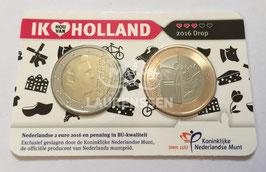 Ik hou van Holland coin fair 2016 coincard (2 euro + 'Drop' penning)