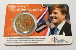 50 cent Nederland 2017 '50 jaar Willem-Alexander' in coincard met kleur