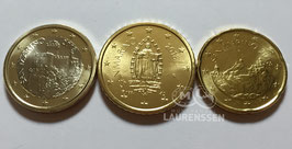 Setje 20 cent - 50 cent - 1 euro San Marino 2018 UNC