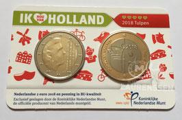 Ik hou van Holland coin fair 2018 coincard (2 euro + 'Tulpen' penning)