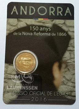 2 euro Andorra 2016 BU '150 jaar Hervorming' in coincard