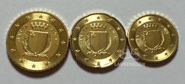 10, 20 en 50 cent Malta 2017 BU met muntteken F
