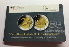 2 euro Duitsland 2014 BU letter A 'Niedersachsen' in coincard