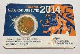10 cent Nederland 2014 'Oranje Geluksdubbeltje' in coincard met kleur
