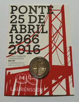2 euro Portugal 2016 BU '50 jaar Brug van 25 April' in coincard