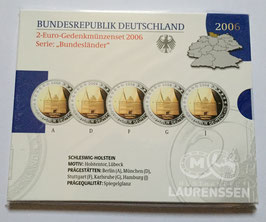 5x 2 euro Duitsland 2006 Proof in blister letters A-D-F-G-J 'Slot Holstein'