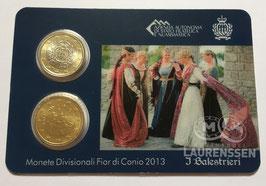 50 cent + 1 euro San Marino 2013 BU in coincard