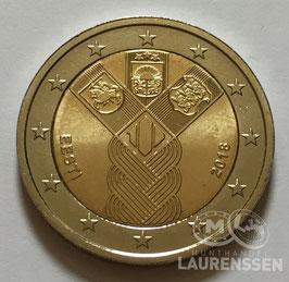 2 euro Estland 2018 UNC 'Onafhankelijkheid Baltische Staten'