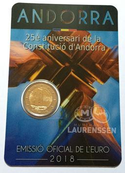 2 euro Andorra 2018 BU '25 jaar grondwet' in coincard