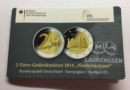 2 euro Duitsland 2014 BU letter F 'Niedersachsen' in coincard