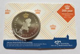 200 jaar Nederlandse Kroon penning 2016 BU in coincard