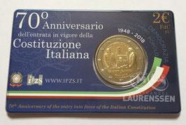 2 euro Italië 2018 BU '70 jaar grondwet' in coincard