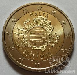 2 euro Malta 2012 UNC '10 jaar Euro'