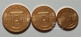 1, 2 en 5 cent Malta 2017 BU met muntteken F