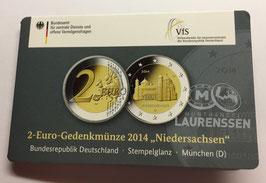 2 euro Duitsland 2014 BU letter D 'Niedersachsen' in coincard